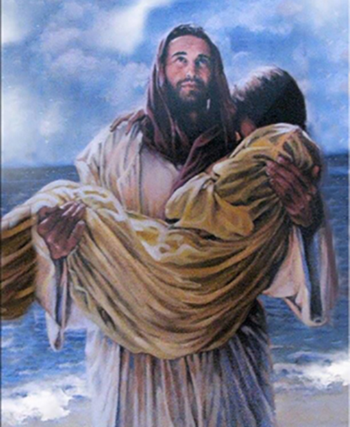 [Watercolor of Jesus carrying a woman in His arms]