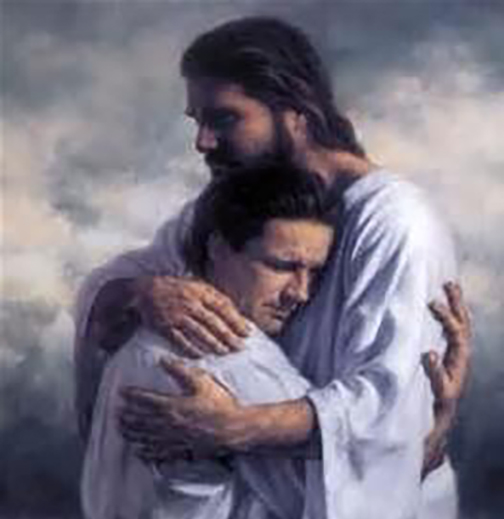 [Drawing of Jesus hugging a male child]