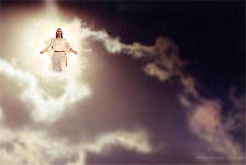 [Photo of Jesus returning in the clouds]