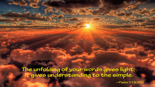 [Photo of a sunrise with a Scripture verse superimposed]
