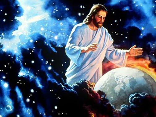 [Drawing of Jesus overlooking earth]