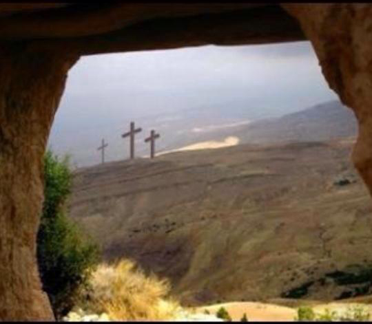 [Photo of Calvary as seen from the tomb]