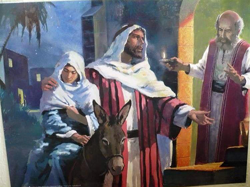 [Painting of Joseph and Mary trying to find a place at an inn]