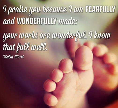[Photo of baby's feet with words superimposed]