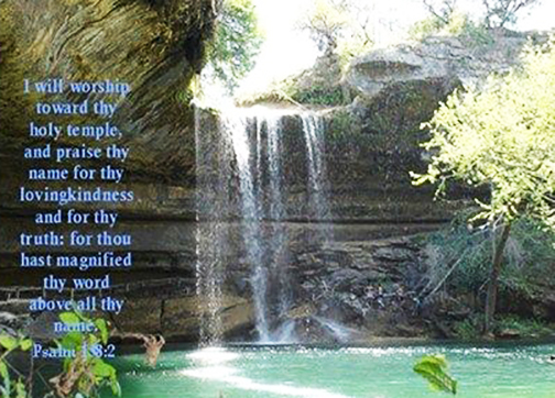 [Drawing of a waterfall with words superimposed]